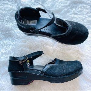 Dansko Black Suede Mary Jane Clog Work Shoes Sz 37